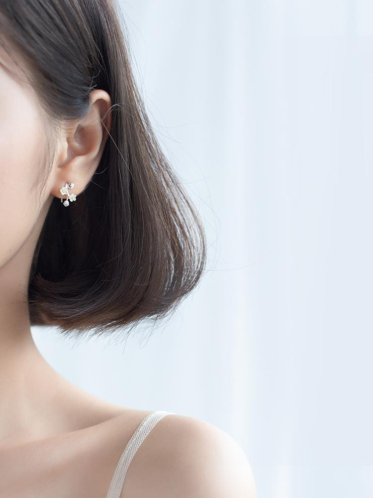 s925銀花朵耳夾女韓版小清新文藝梅花短款耳釘氣質耳飾品♠極有家♠