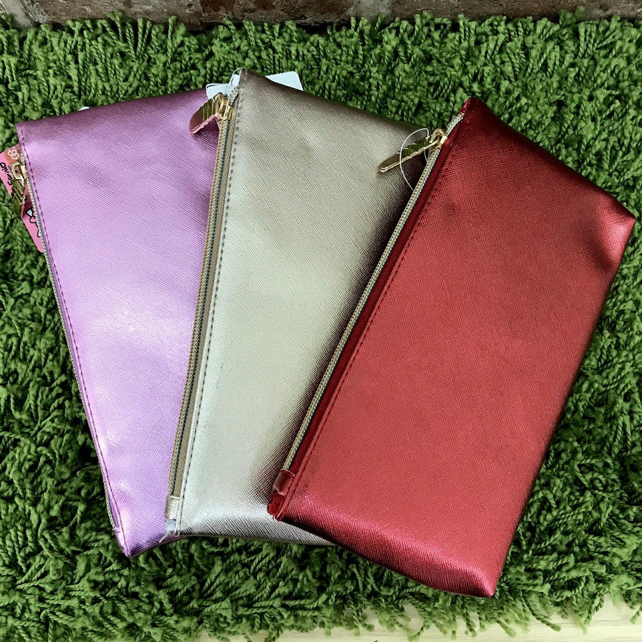 【真愛日本】 17072600028 炫彩壓紋拉鍊筆袋-3色 三麗鷗 kitty 凱蒂貓 化妝包 收納包