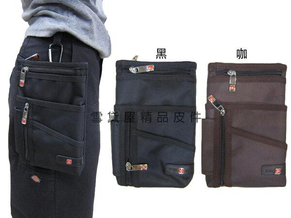 雪黛屋精品皮件:~雪黛屋~-OVER-LAND外掛式腰包大容量7寸手機防水尼龍布材質隨身物品專用包工作袋可穿過皮帶多功能T2914
