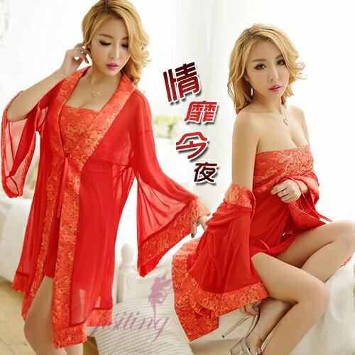 [漫朵拉情趣用品]《Yisiting》情靡今夜!中國風緞面柔紗三件式睡袍組﹝紅﹞ NO.531251
