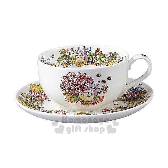 〔小禮堂〕宮崎駿 Totoro龍貓 骨瓷咖啡杯盤組《白底.樹葉.好多果實》Noritake精緻骨瓷