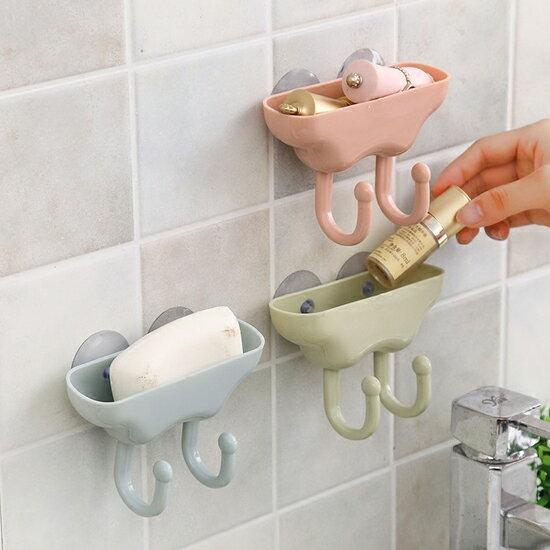 ♚MY COLOR♚吸盤雙掛勾置物盒 瀝乾 懸掛 廚房 浴室 洗漱 瀝水 水槽 抹布 擦手巾【K125】