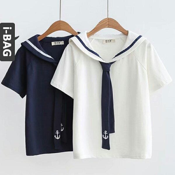 B.A.G*現+預*【TB1615】海軍領學院風船錨刺繡短袖襯衫(現+預)-2色
