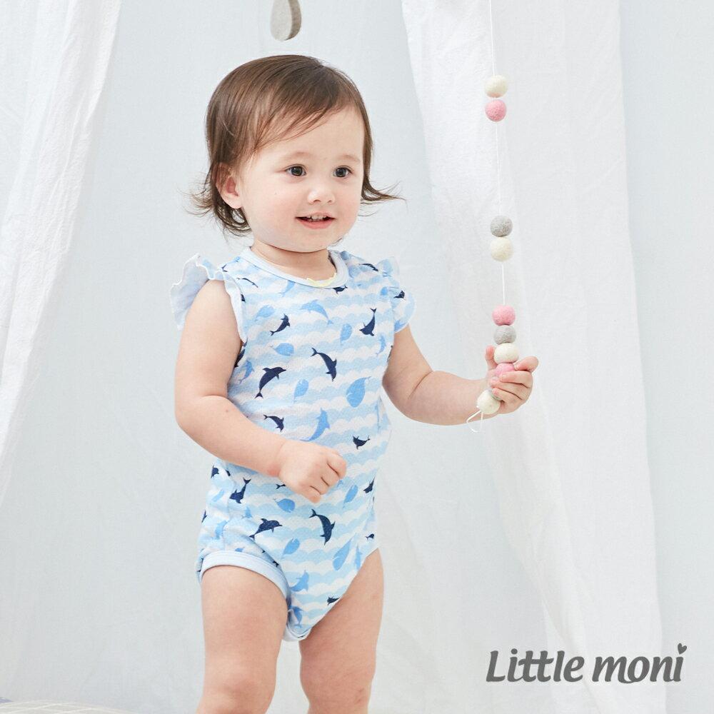 Little moni 棉質網眼荷葉袖包屁衣-亮天藍(好窩生活節) 1