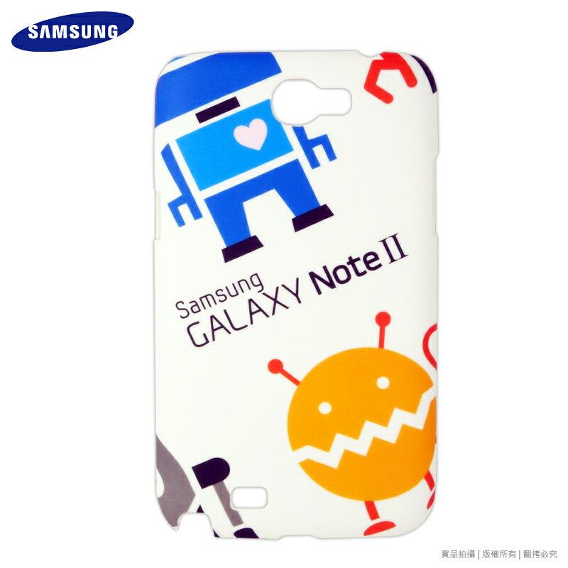 SAMSUNG GALAXY Note 2 N7100 專用 原廠機器人塗鴉背蓋/保護殼/原廠保護殼/原廠保護套/硬式保護殼