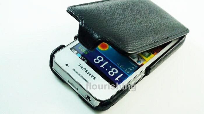 Leafon Samsung Galaxy Ace S5830 真皮荔枝紋下掀式皮套/翻蓋式皮套 手機皮套 掀蓋式皮套 保護套 下掀式皮套 手拿包皮套