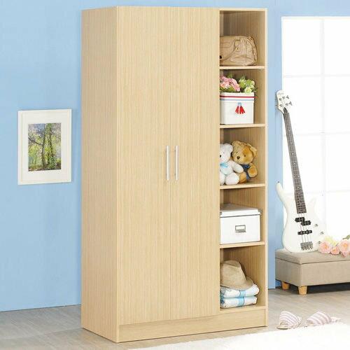 生活大發現-H-白橡木色二門五格衣櫃/衣櫥/衣架收納櫃/置物櫃/此為白橡木下標區