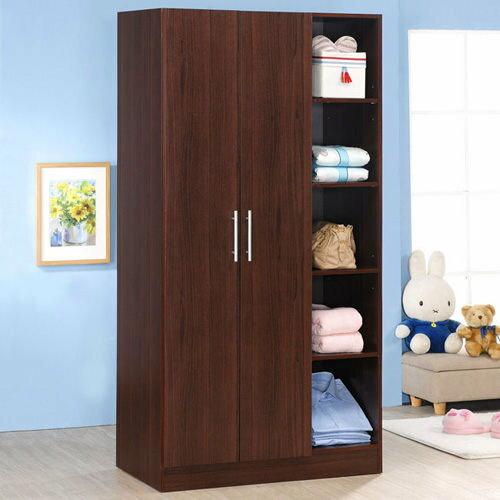 生活大發現-H-胡桃木色二門五格衣櫃/衣櫥/衣架收納櫃/置物櫃/此為胡桃下標區