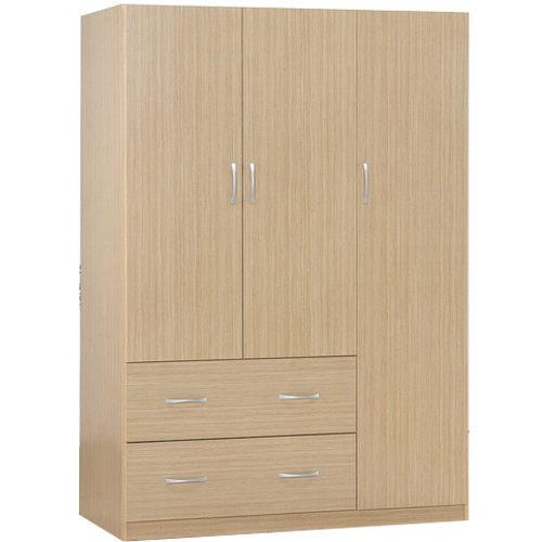 生活大發現-DIY家具-白橡木色三門二抽衣櫃