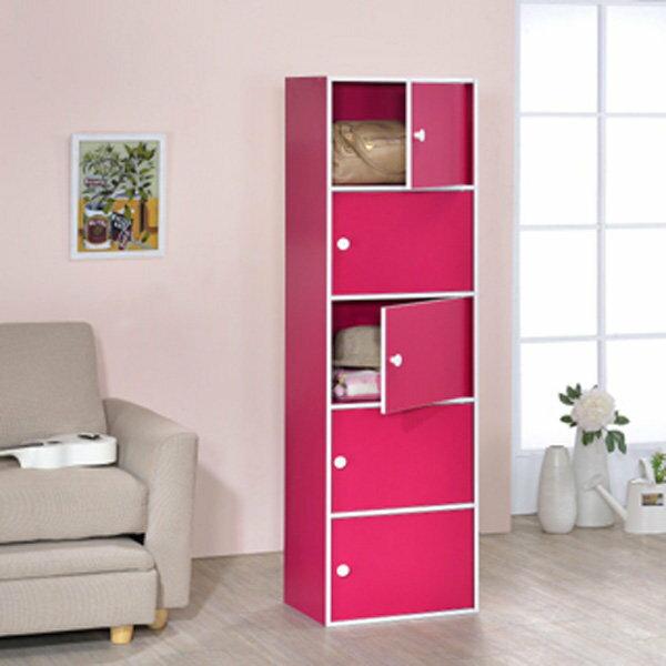 大發現~   粉彩五門櫃 櫃 收納櫃 置物櫃 書櫃 書架 高低櫃 展示櫃 此為桃紅色 區