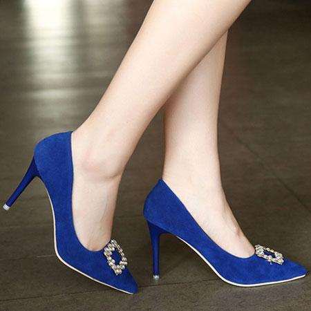 高跟鞋 輕熟質感絨布水鑽尖頭高跟鞋【S1602】☆雙兒網☆ 6