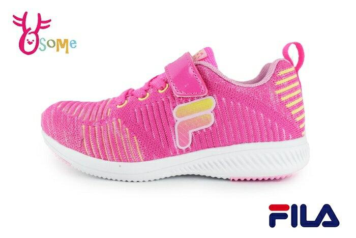 FILA 運動鞋 女童 中大童 針織 透氣 慢跑鞋O7642#桃紅 奧森
