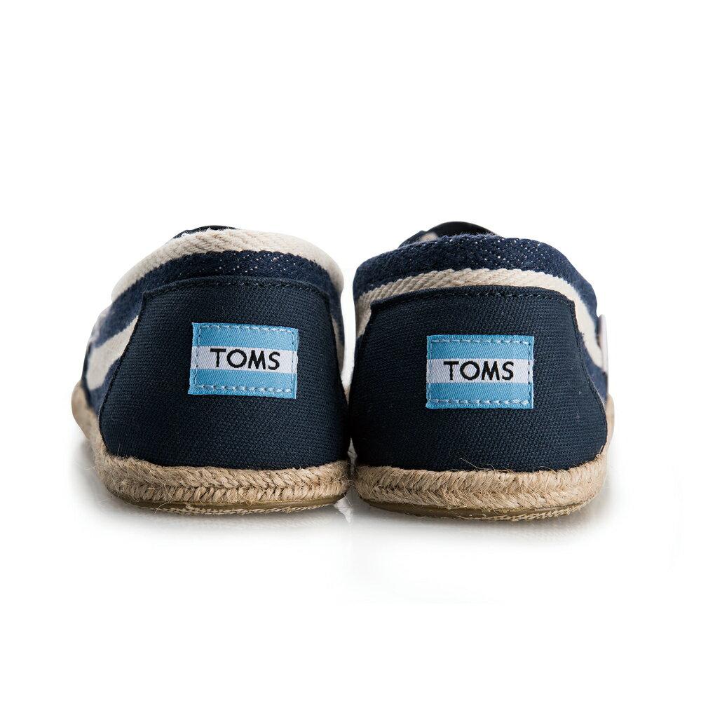 【TOMS】藍色寬條紋學院風平底鞋 Navy Stripe University Women's Clssics【全店免運】 6