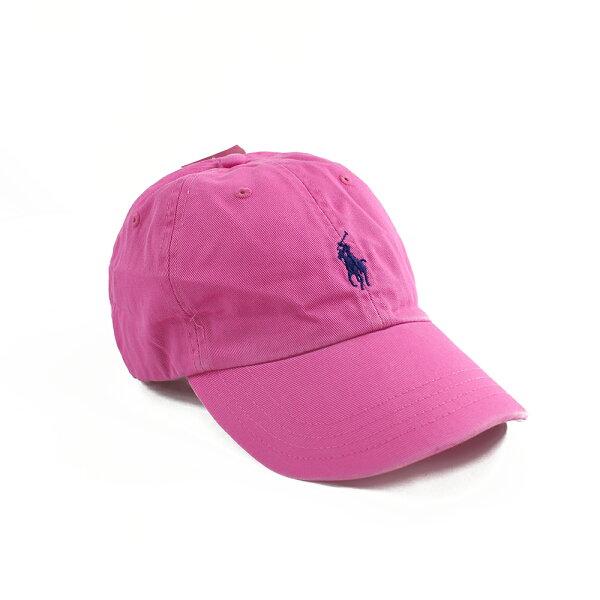 美國百分百【全新真品】RalphLauren帽子RL配件棒球帽Polo小馬帆布刺繡男桃紅色A732