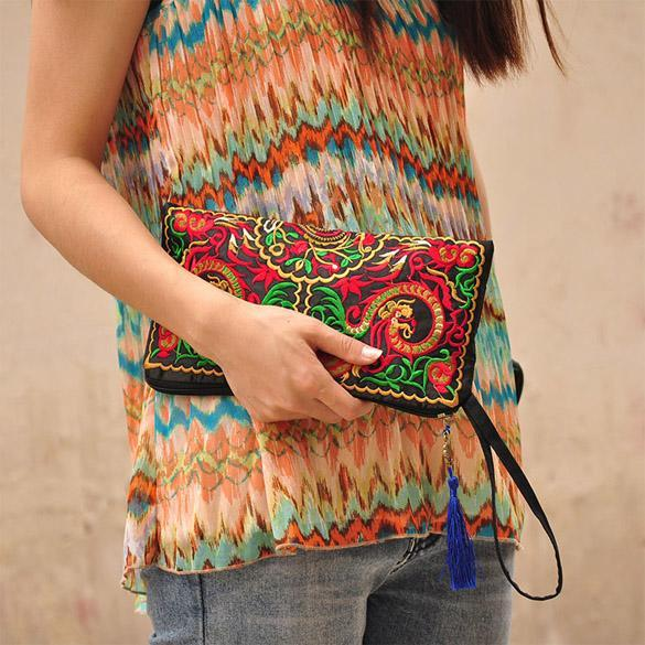 Purse National Retro Embroidered Phone Change Coin With Tassel 4
