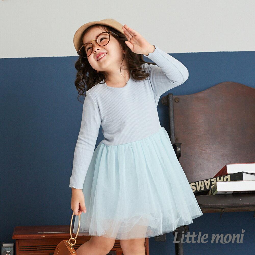 Little moni 荷葉滾邊網紗洋裝-亮天藍 1