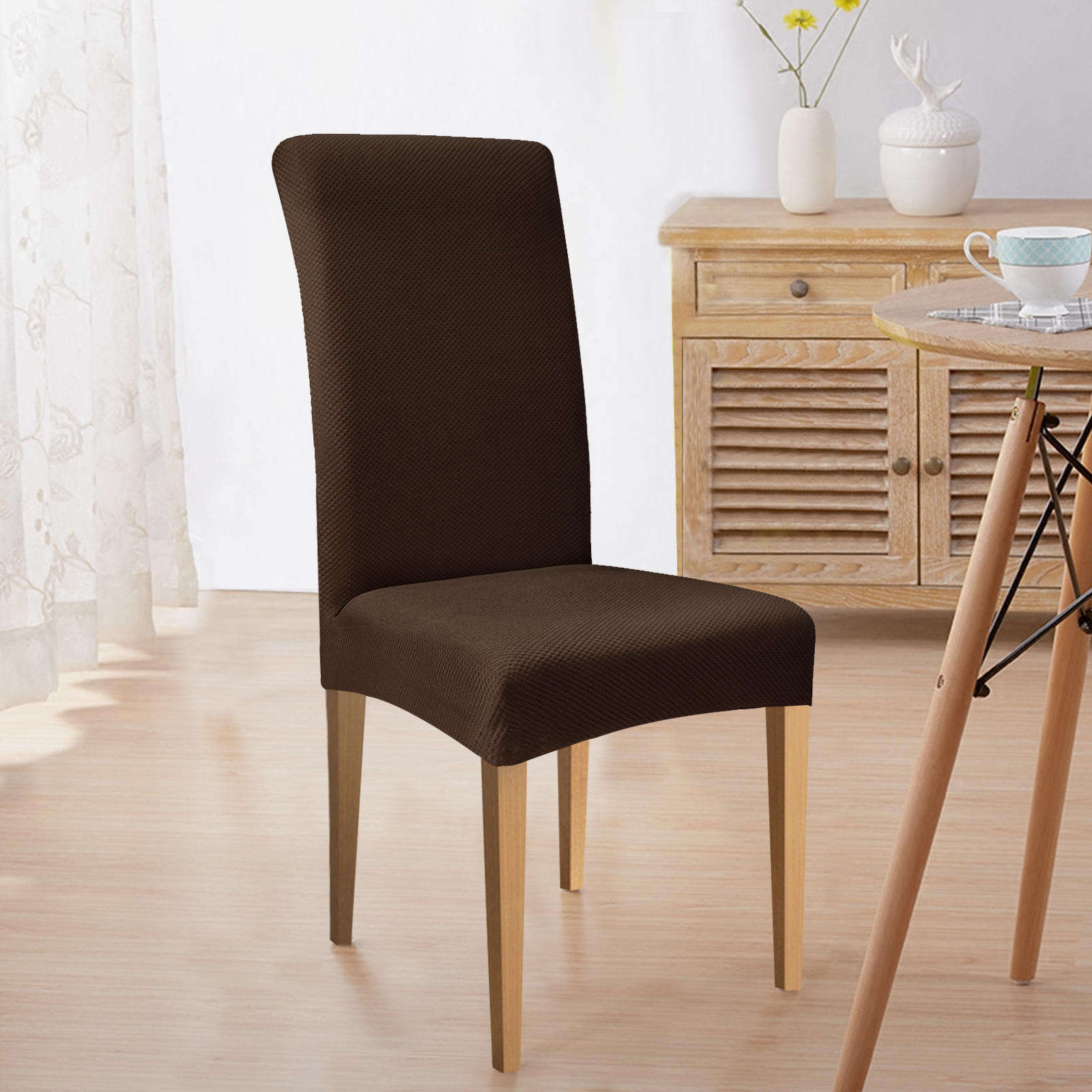 Subrtex Square Knit Stretch Dining Room Chair Covers 0