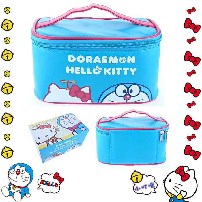 大田倉 日本進口正版 HELLO KITTY凱蒂貓 小叮噹 哆啦A夢 塑膠便當盒 附保冷提袋組 1512010012