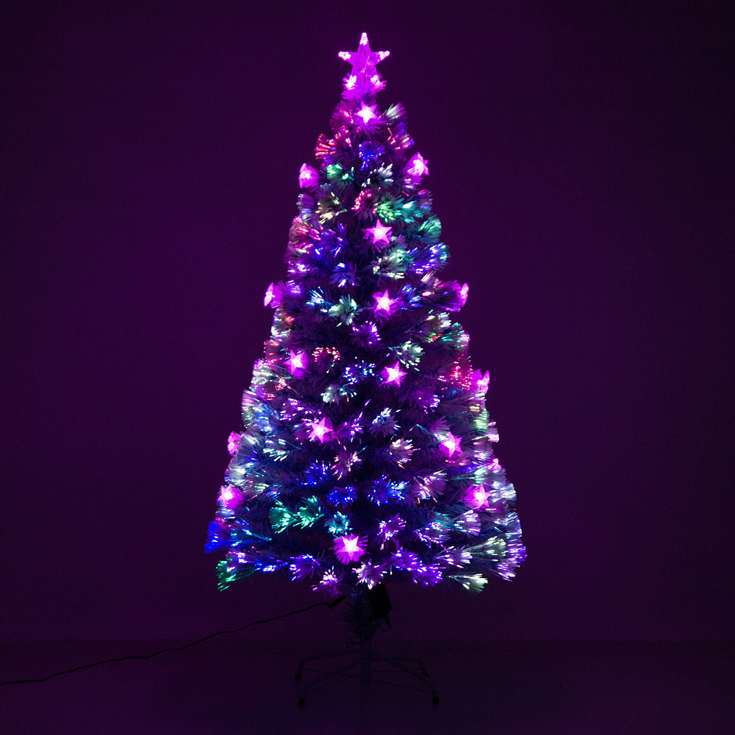 Purple Christmas Tree.Aosom 5 Artificial Holiday Fiber Optic Led Light Up Christmas Tree W 8 Light Settings And Stand White Blue Branches Rakuten Com