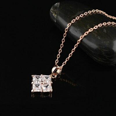 ~純銀項鍊 鍍18K金鑲鑽吊墜~ 方形形狀情人節生日 女飾品73dn137~ ~~米蘭 ~