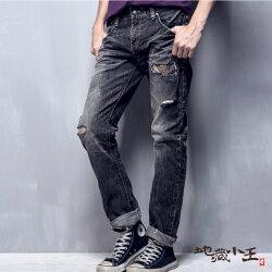 【春夏新品】刷破迷彩火焰低腰直筒褲(灰黑) - BLUE WAY  JIZO 地藏小王