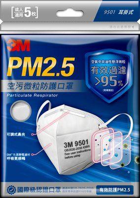 【3M】PM2.5空污微粒防護口罩 5枚入 9501