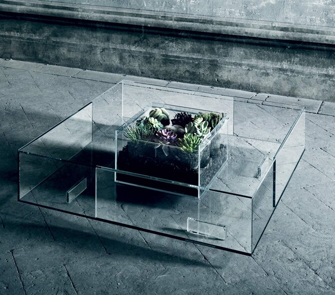 義大利原裝進口 設計師玻璃傢俱品牌 GLAS ITALIA - Seasons 玻璃茶几 (展示品出清65折,僅此1件)