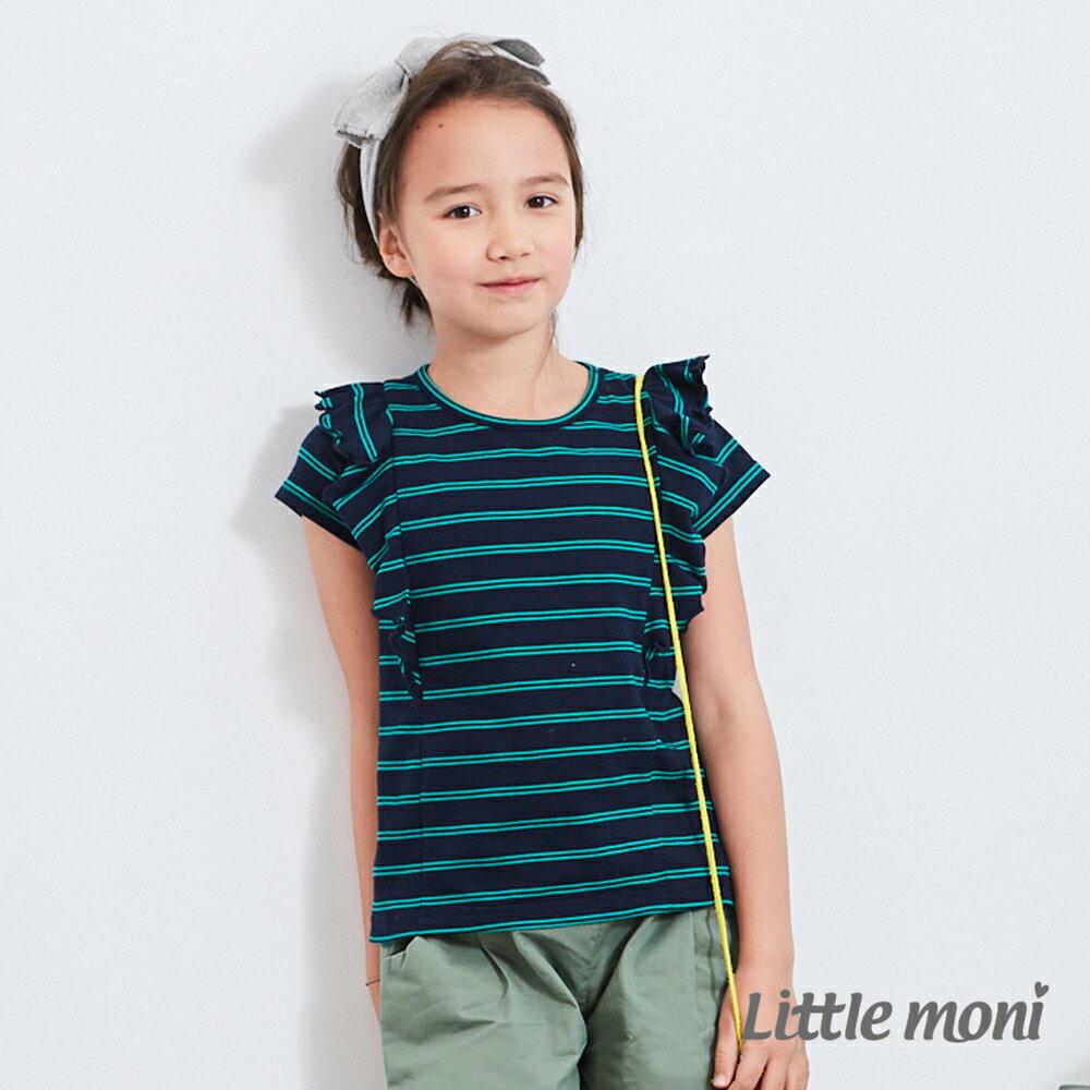 Little moni 條紋荷葉袖上衣-深藍(好窩生活節) 0
