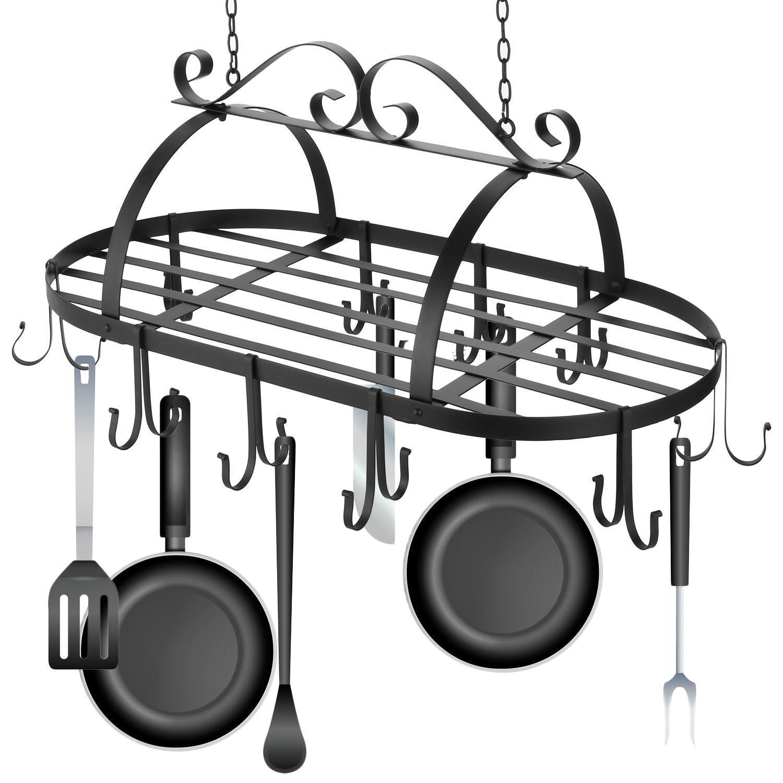 Iron Hanging Pot Holder Kitchen Storage Utility Cookware Hook Rack 0