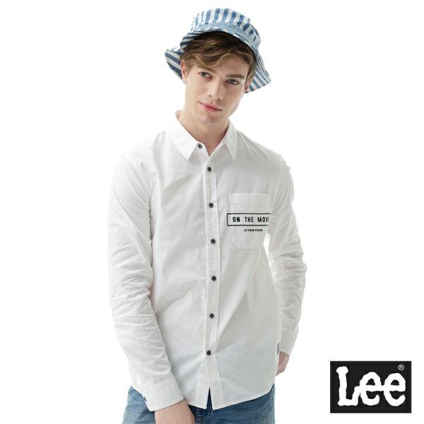 LeeONTHEMOVE口袋印花長袖襯衫UR-白色-男款