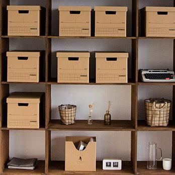 麻吉小舖:居家收納創意簡約紙質收納箱帶蓋本雜物整理箱收納盒