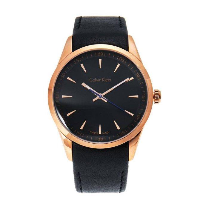 美國百分百【Calvin Klein】配件 CK 手錶 腕錶 金屬 計時 瑞士 石英 皮錶帶 男 黑玫瑰金 H887