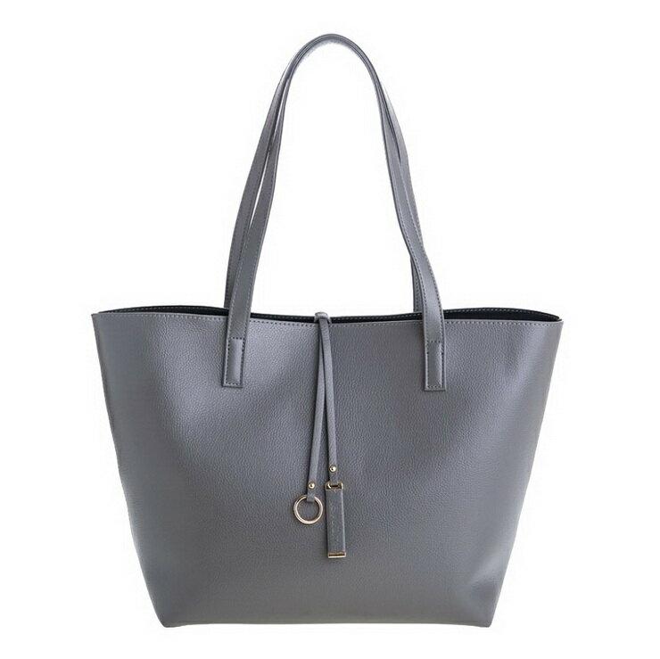 【le Lufon】 灰色荔枝紋皮革輕巧實用感大容量簡約設計兩用子母肩背包 托特包(L) 肩背包/手拿小包(粉紅/粉紫/灰色三色)