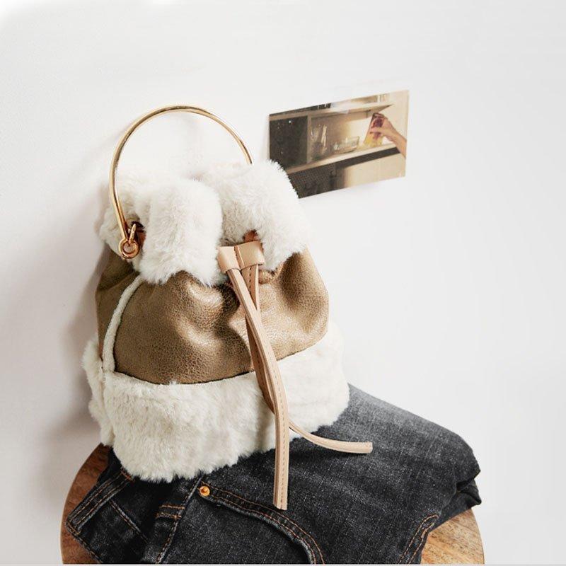 韓版可愛毛毛手提包迷你水桶包復古撞色單肩包斜背包 0
