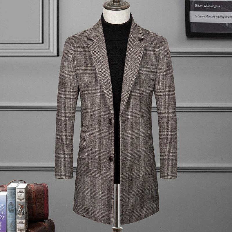 毛呢大衣中長版風衣-格紋修身翻領時尚男外套2色73wk16【獨家進口】【米蘭精品】 1