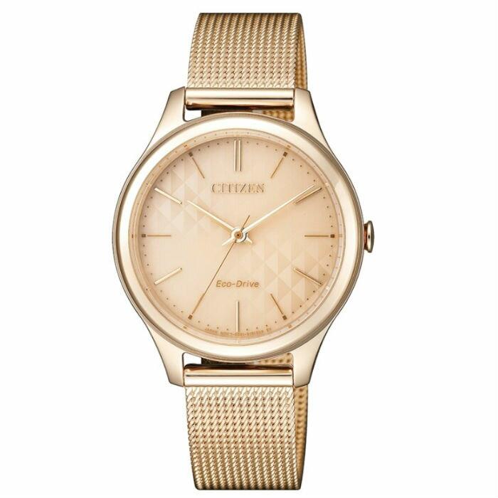 CITIZEN 星辰錶 EM0503-83X 時尚米蘭光動能腕錶/粉紅面32mm