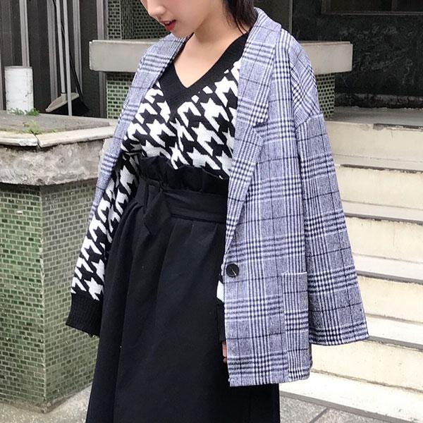 中長寬版 西裝外套 格紋 格子 長版 千鳥 大衣 風衣 顯瘦 雙排釦 毛呢 韓 ANNA