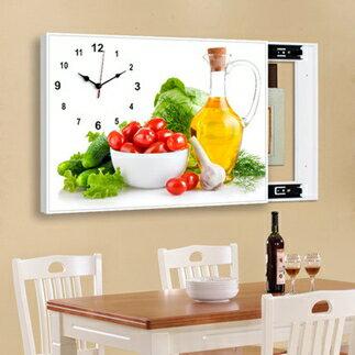 電錶箱裝飾畫 現代客廳免打孔電錶箱遮擋裝飾畫帶鐘錶餐廳推拉簡約掛畫牆畫壁畫T【全館免運 限時鉅惠】