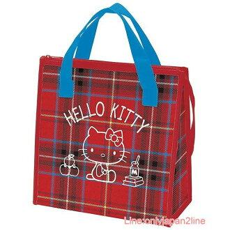 【真愛日本】17040100048 拉鍊保溫手提袋-KT蘇格蘭紅FAC 三麗鷗 Hello Kitty 凱蒂貓 手提袋 便當袋 正品