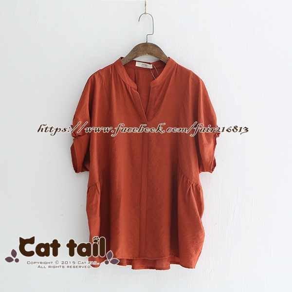 《貓尾巴》LZ-03175日系V領木耳袖短袖上衣(森林系日系棉麻文青清新)