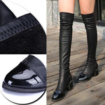 LE014 現貨 大牌同款優雅彈力皮修身美腿膝上靴-黑-36-39 偏小