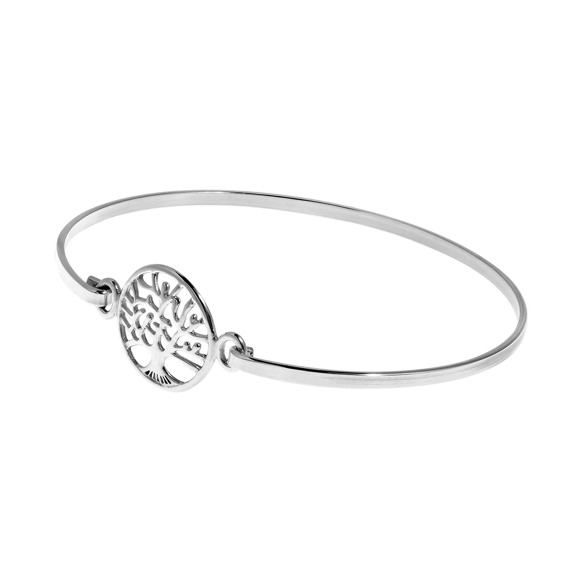 Mystical Tree Of Life .925 Sterling Silver Bangle Bracelet (Thailand) 1