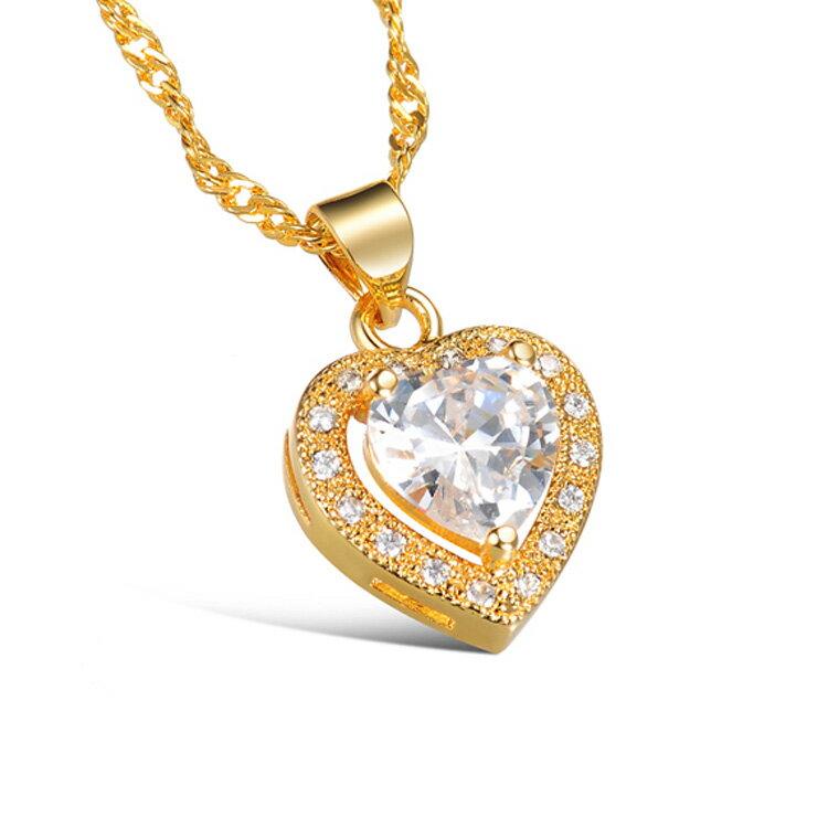 最新款時尚精美鑲鑽皓石愛心造型女款度18K金項鍊