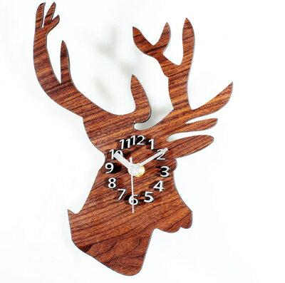 歐式木紋鹿頭 墻面客廳擺式掛鐘十天