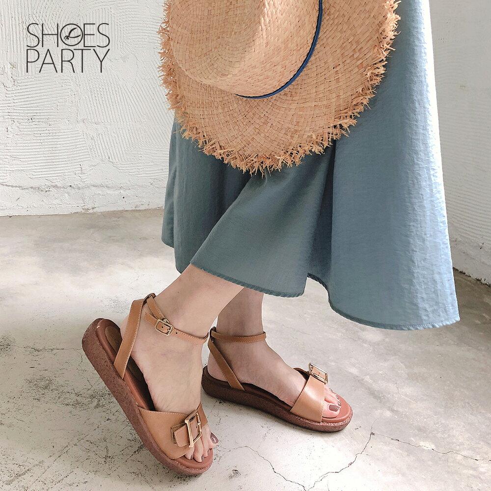 【S2-19702L】Simple+個性大飾扣漢堡底涼鞋_Shoes Party 2