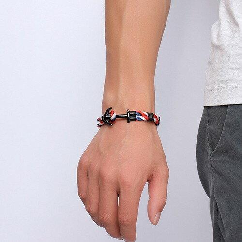 三色船錨手鍊 鈦鋼 手環 手飾 情人節 生日 沂軒 F0030