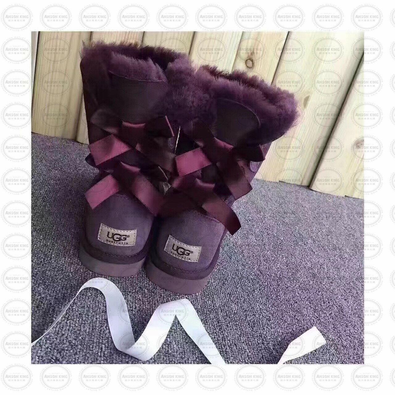 OUTLET正品代購 澳洲 UGG 蝴蝶結3280羊皮毛一體 中長靴 保暖 真皮羊皮毛 雪靴 短靴 紫色 0