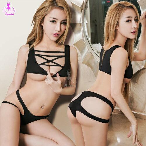 愛的蔓延:愛的蔓延情趣內衣黑色繩縛式緊身死庫水比基尼兩件組性感內衣SNA16030062