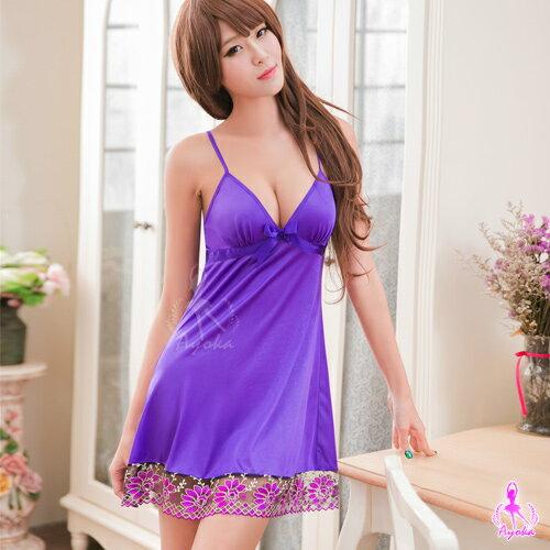 愛的蔓延:愛的蔓延性感睡衣深V紫羅蘭刺繡睡衣甜美睡衣WNA16020041