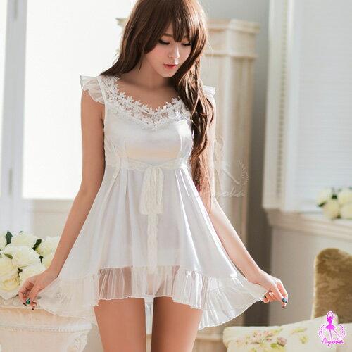 愛的蔓延:愛的蔓延純白緞面V領小蓋袖二件式睡衣性感睡衣甜美睡衣NA16020062